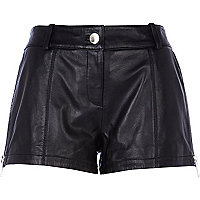 Black leather side zip shorts