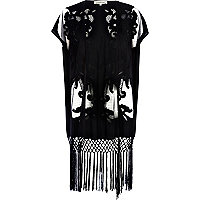 Black cut out fringed kimono