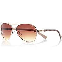 Gold tone diamante aviator sunglasses