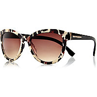 Black animal print oversized sunglasses