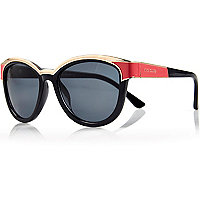 Navy metal trim oversized sunglasses