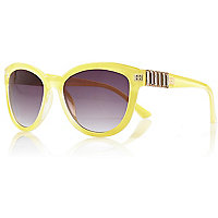 Light yellow jewelled oversized sunglasses