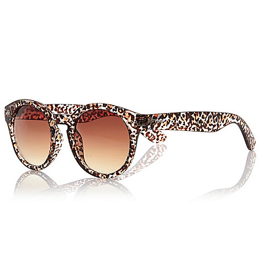 Brown leopard print round sunglasses