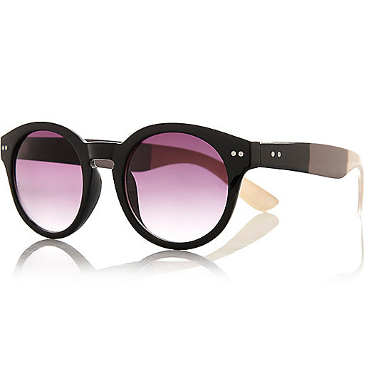 Black stripe arm round sunglasses