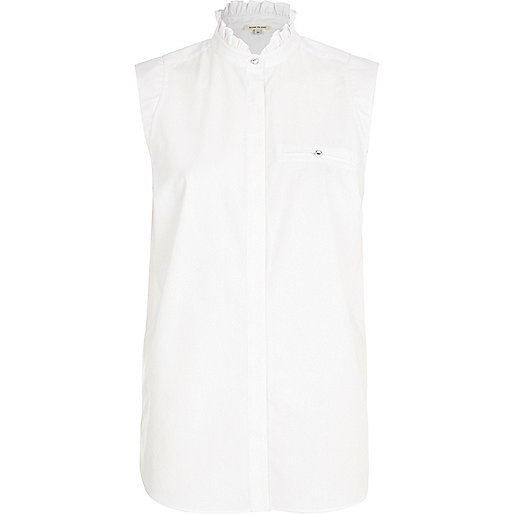 White stand up collar sleeveless shirt