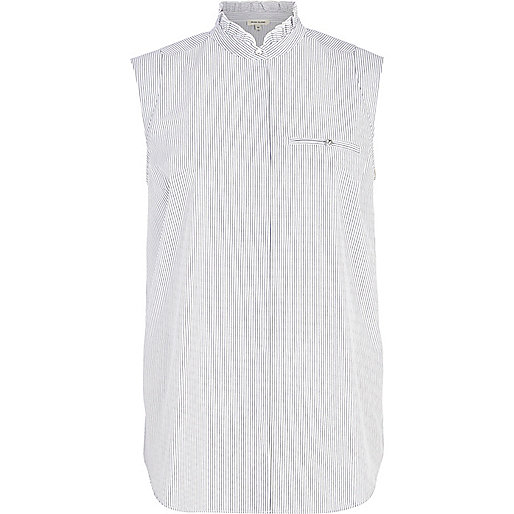 Blue stripe stand up collar sleeveless shirt
