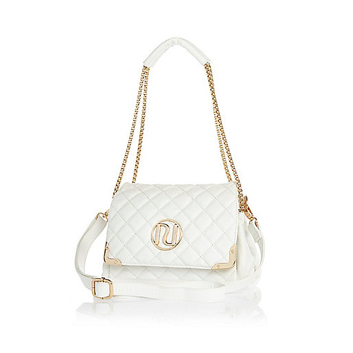 White quilted underarm bag