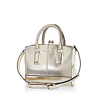 Gold metallic structured mini tote bag