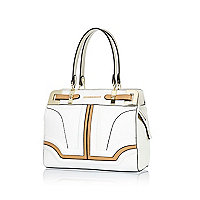 White colour block mini structured tote bag