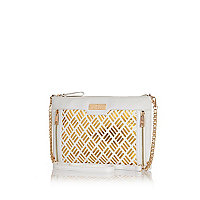 White metallic laser cut clutch bag