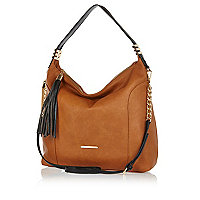 Brown tassel trim slouch bag