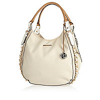 Cream chain trim slouch bag