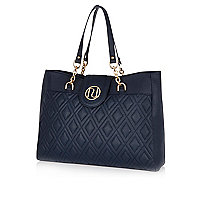 Navy quilted chain strap tote bag