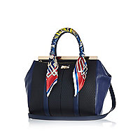 Navy scarf handle woven tote bag