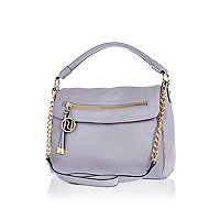 Light purple fold over slouch bag