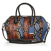 Navy snake bowler bag
