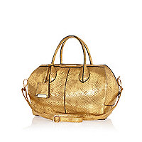 Gold metallic snake bowler bag