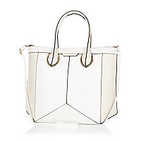 White structured geometric panel tote bag