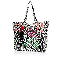 Black beaded zebra print beach tote bag