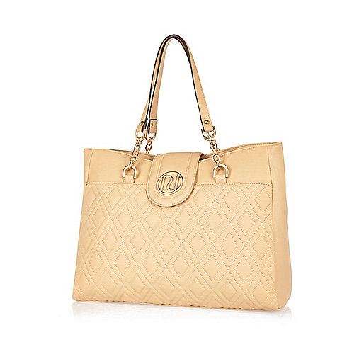 Beige quilted chain strap tote bag
