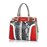 Red snake colour block structured tote bag