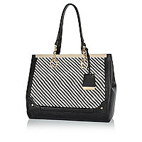Black woven panel metal trim tote bag
