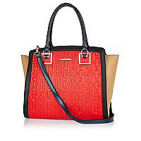 Red chain quilted colour block tote bag