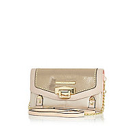 Gold metallic colour block cross body purse
