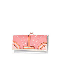 Pink curved panel colour block purse