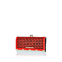 Bright coral geometric cut out clip top purse