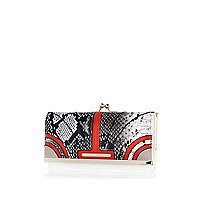 Red snake curved panel purse