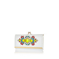 White gem stone embellished purse
