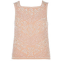 Light pink embellished square neck shell top