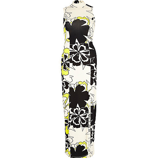 Cream Chelsea Girl floral split maxi dress