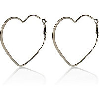 Silver tone heart hoop earrings