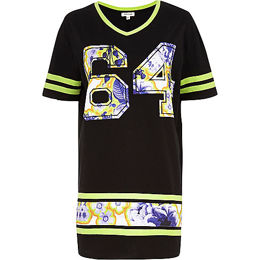 Black 64 floral applique varsity t-shirt