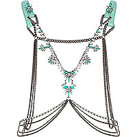 Green leather jewelled body harness