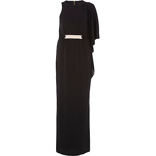 Black metal trim one shoulder maxi dress
