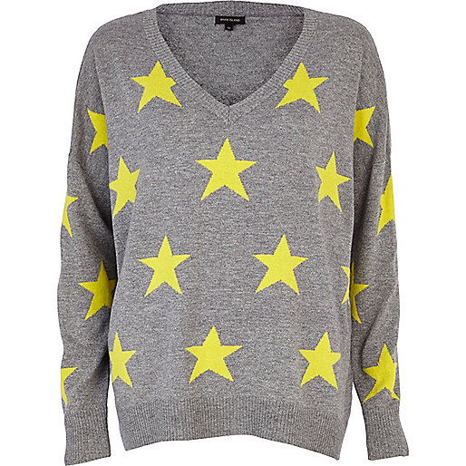 Grey star print slouchy jumper