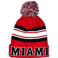 Red Miami stripe beanie hat