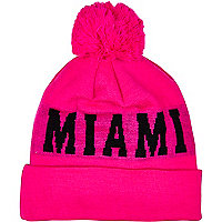 Bright pink Miami beanie hat