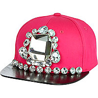 Pink mirrored gem stone trucker hat
