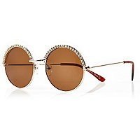 Gold diamante round sunglasses