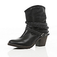 Black perforated Western slouch boots