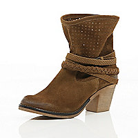 Brown perforated slouch Western boots