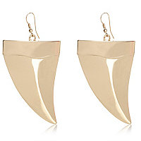 Gold tone tusk drop earrings