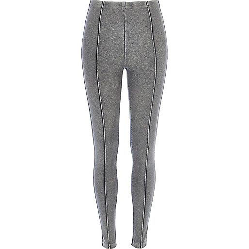 Grey acid wash denim-look pintuck leggings