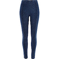 Blue acid wash denim-look pintuck leggings