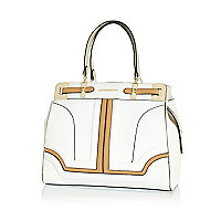 White colour block large structured tote bag