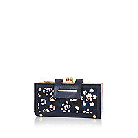 Navy floral print clip top purse